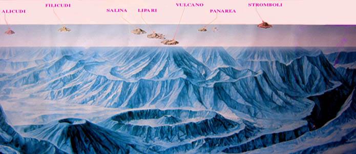 Le isole Eolie sott'acqua, suggestiva rappresentazione dei vulcani sommersi eoliani.